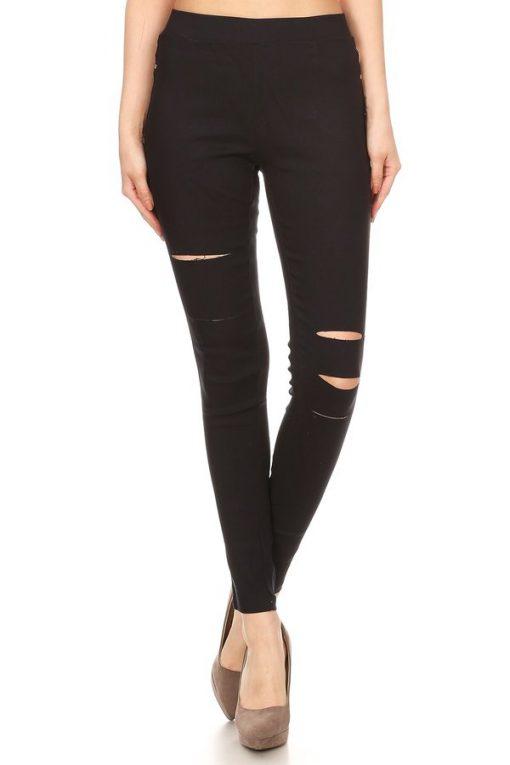 fd7315038631a Women's Pull-On Ripped Distressed Stretch Legging Pants Denim Jean JV3944  (13 COLORS)(S M L) - JVINI